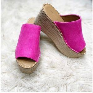 Hot pink espadrille wedge sandal